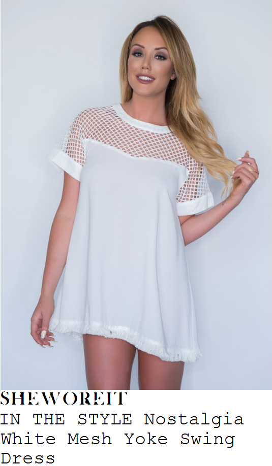 charlotte-crosby-in-the-style-nostalgia-white-sheer-mesh-yolke-panel-short-sleeve-frayed-hem-swing-mini-dress