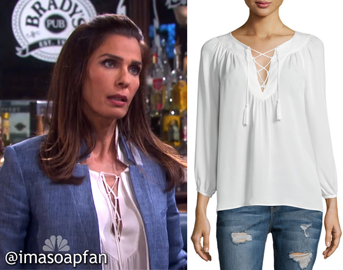 Hope Brady's White Silk Lace-Up Top - Days of Our Lives, Season 51, Episode 09/21/16