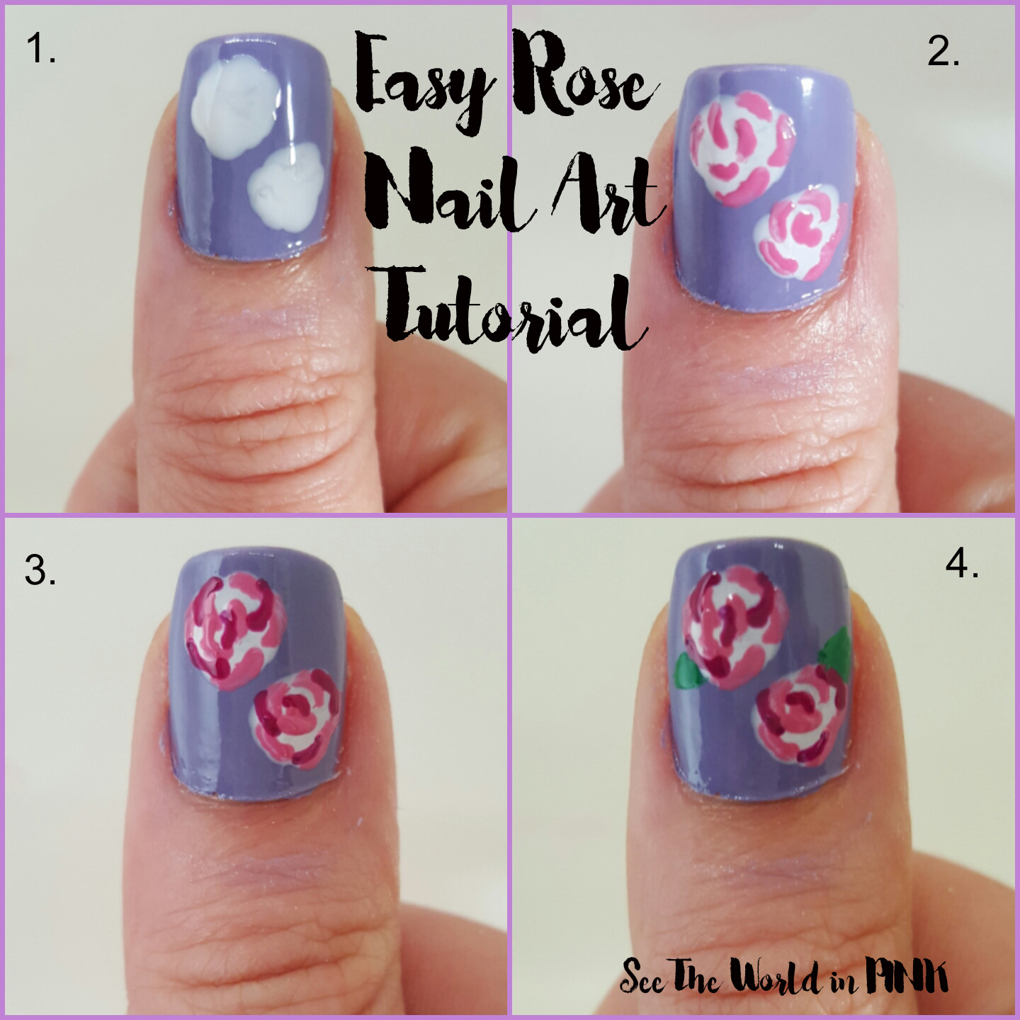 rose nail art how to tutorial