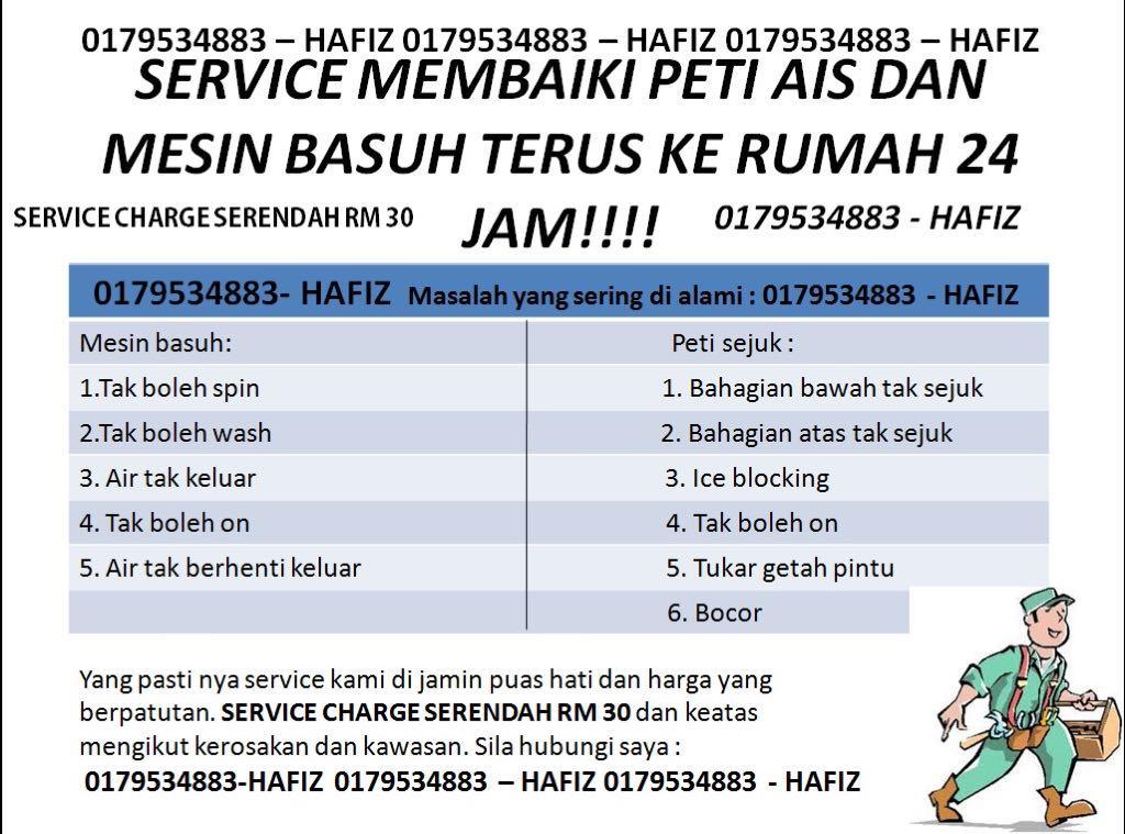 Repair Peti Ais Dan Mesin Basuh Area Johor Bahru, Senai