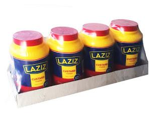 Laziz Vanilla Custard Powder Jar 1kg x 4 on white background