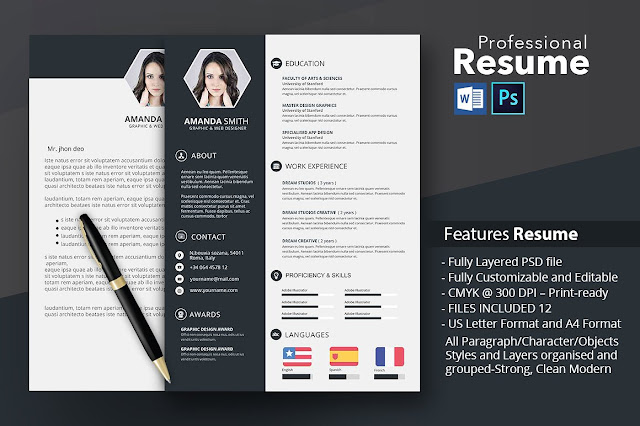 Creative Resume Template With Microsoft Word and Photoshop