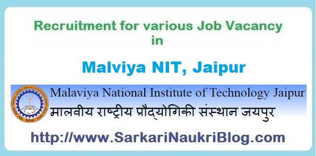 Sarkari Naukri Vacancy Recruitment in MNIT Jaipur