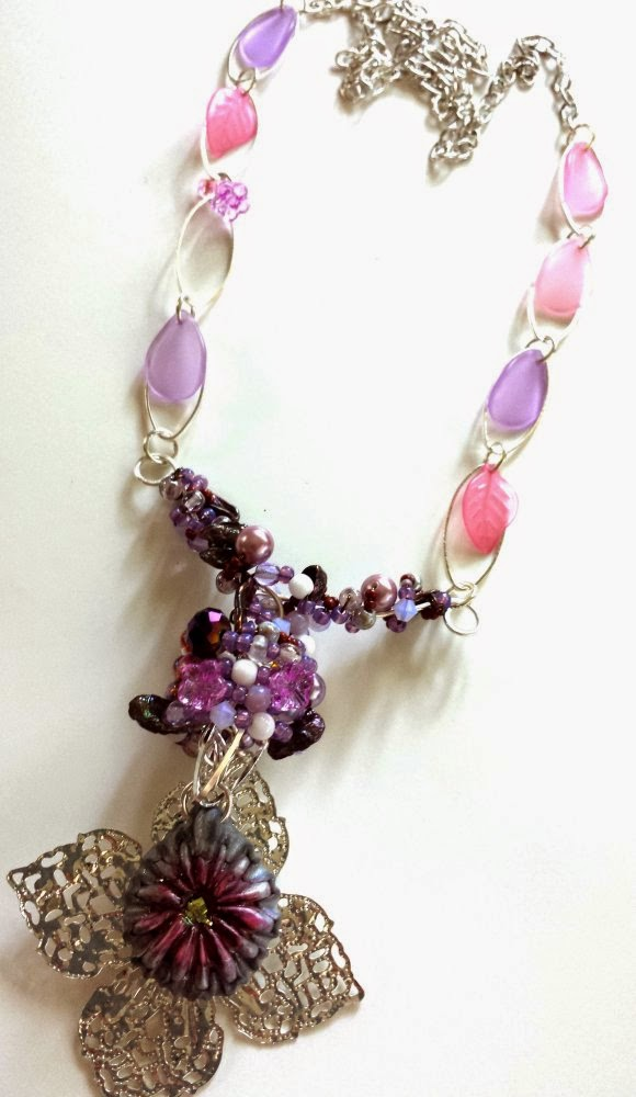 Purple Universe: Emma Todd pendant, ooak necklace, glass, lucite, pearls Czech beads, wire wrapping :: All Pretty Things