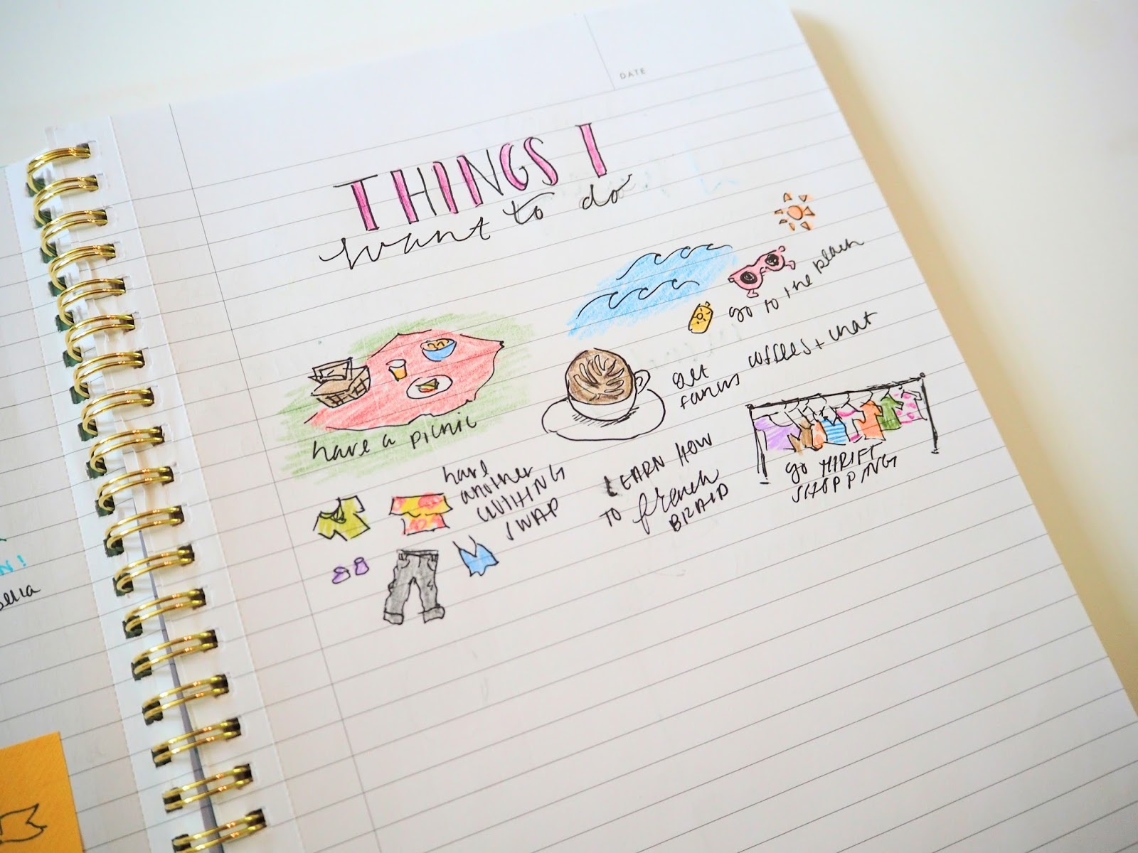 List of activities I want to do in my bullet journal