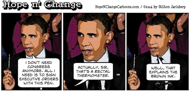 obama, obama jokes, cartoon, humor, stilton jarlsberg, hope n' change, hope and change, conservative, tea party, pen, phone, executive orders