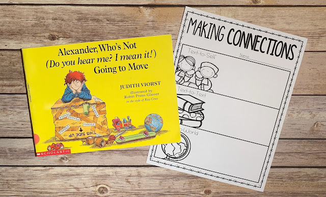 "Mentor text with text ""Alexander, Who's Not (Do you hear me? I mean it!) Going to Move"" and graphic organizer with text ""Making Connections"""