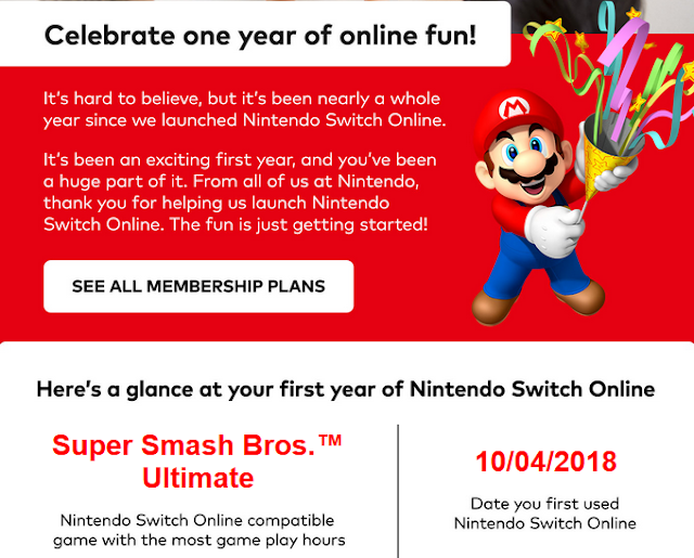 Nintendo Switch Online one year anniversary Mario e-mail message