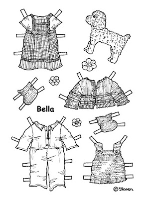 Karen`s Paper Dolls: Bella 1-5 Paper Doll to Print and