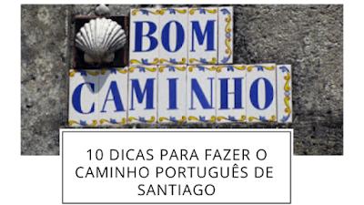 Azulejos com as palavras Bom Caminho e Concha de Santiago de Compostela