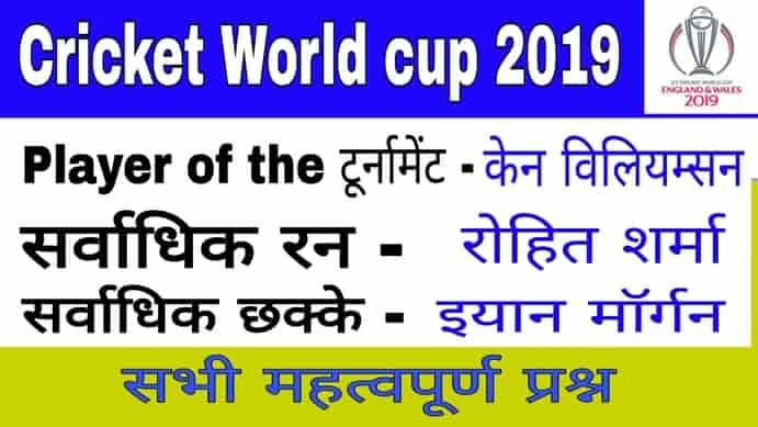 Cricket world cup 2019 important question (वर्ल्ड कप 2019 महत्वपूर्ण GK question)