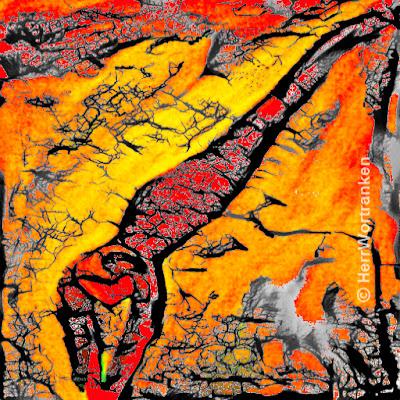 Gelb Rot oranger Hintergrund als Wasserfall mit einigen kleinen flächigen weißgrauen Teilen, als Schaum. Im Vordergrund diagonale weiblich schlanke Figur (von oben rechts nach unten links) in Kopfsprungposition und angedeuteter Dreidimensionalität deren Körperfarbe vornehmlich im gleichen Rot, wie Teile des Wasserfalls gehalten sind. Die Beine, bzw, die Füße laufen dimensionslos, wie Schlangenschwänze aus. Bild ist quadratisch (512 mal 512 pix) und ist mit schwarzen Strukturlinien, von dünn bis dicker, zur Verstärkung eines 3-D Eindrucks, überlagert. Hier handelt es sich im Original um eine Öl auf Leinwand Malerei von mir, die digital mit Falschfarben und  Strukturlinien, für diesen blogeitrag gestaltet wurde.
