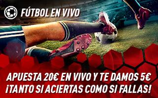 sportium Promo Fútbol En Vivo: Por cada 20€ ¡Te damos 5€! 22-28 abril