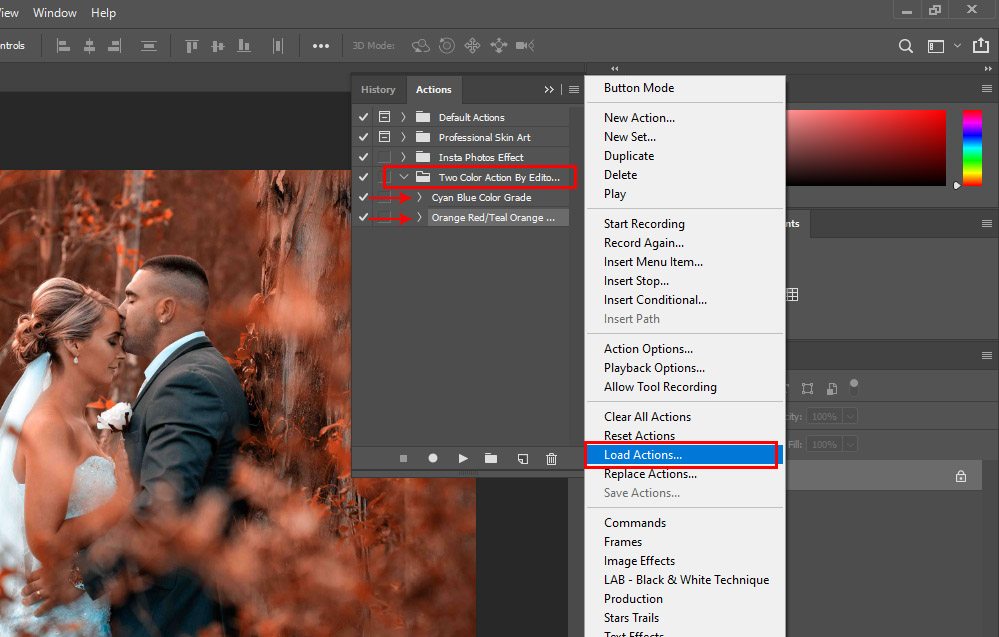 Cyan Blue-Orange Red-Teal Orange Color Grades Free Photoshop Action