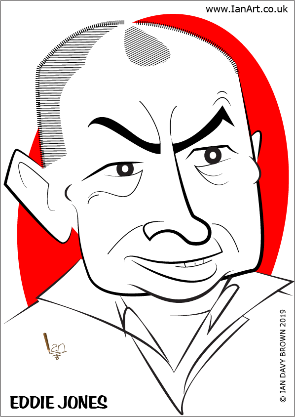 Eddie Jones England Rugby Union Manager Coach Caricature cartoon