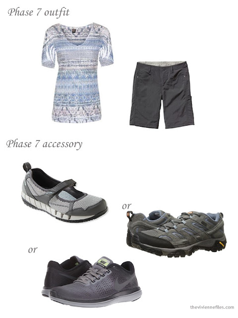 shorts and a pastel tee, with three choices of water shoes