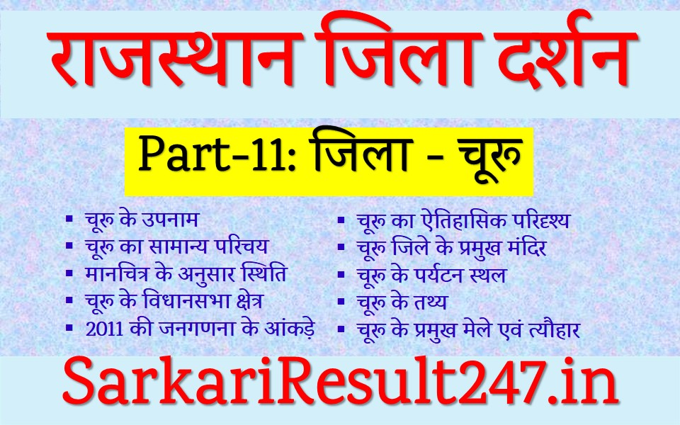 Churu District GK in Hindi, Churu GK in Hindi, Churu Jile ka Itihas, Churu, Rajasthan GK in Hindi