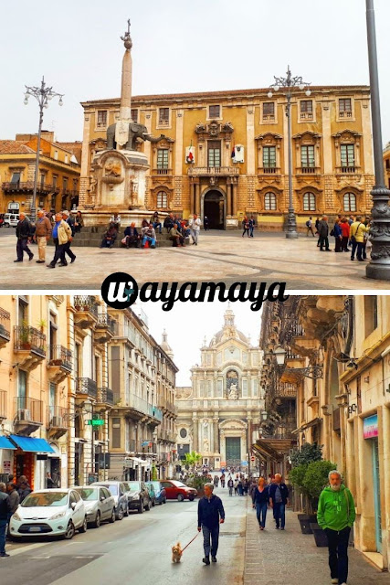 Piazza del Duomo and Sant'Agata cathedral (view from the street), Catania | Sicily, Italy | wayamaya