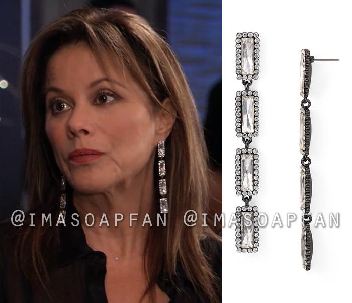 Alexis Davis, Nancy Lee Grahn, Linear Framed Crystal Drop Earrings, General Hospital, GH