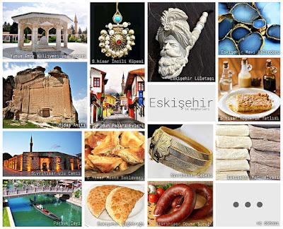 Eskişehir'in meşhur şeylerini gösteren resimlerden oluşan kolaj