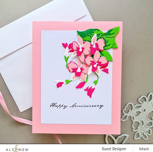 Pink Orchid card, Altenew Dendrobium Orchids, Altenew,guest designing,Guest designer - Altenew, layering dies,diecutting,floral card, Quillish,Anniversary card,