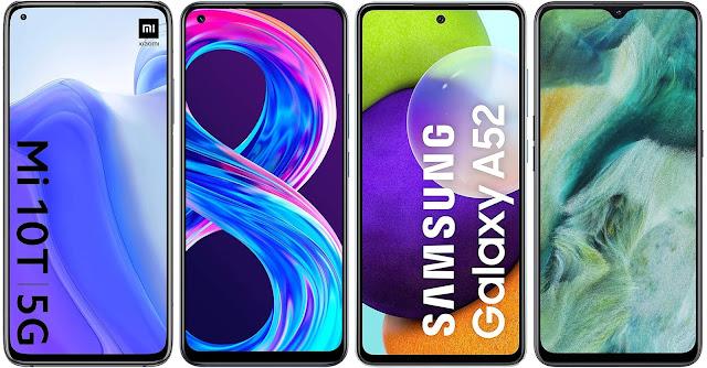 Xiaomi Mi 10T vs Realme 8 Pro vs Samsung Galaxy A52 4G vs Oppo Find X2 Lite