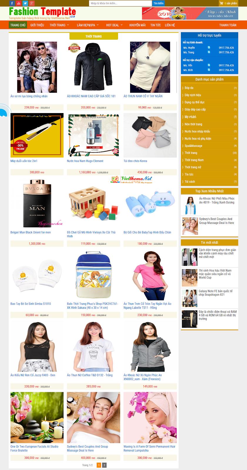 Trang chuyên mục hiển thị thông minh theo sản phẩm hoặc bài viết tin tức