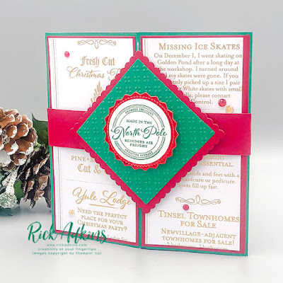 Click here to learn how to make a festive Wishes & Wonder Explosion Gatefold Card by Rick Adkins