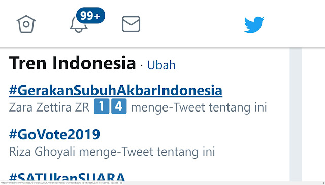 Malam Jelang Pencoblosan, Tagar #GerakanSubuhAkbarIndonesia Jadi Trending Di Twitter