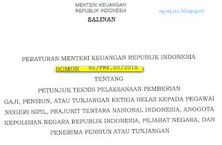 peraturan menteri keuangan mengenai gaji 13 14 pns polri tni pensiunan