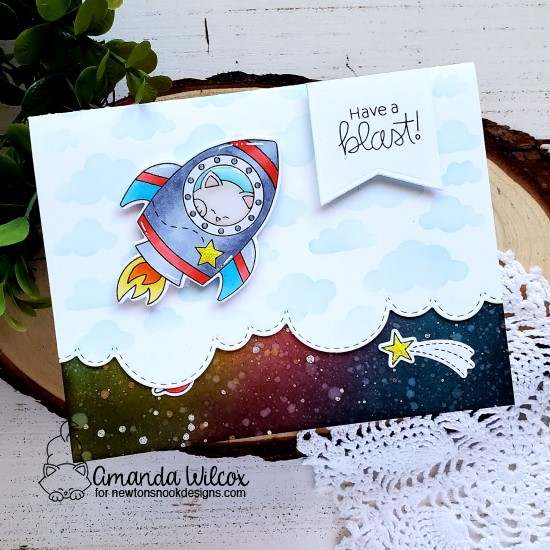 Have a Blast Card by Amanda Wilcox | Cosmic Newton Stamp Set, Frames & Flags Die Set, Sky Borders Die Set and Cloudy Sky Stencil by Newton's Nook Designs #newtonsnook #handmade