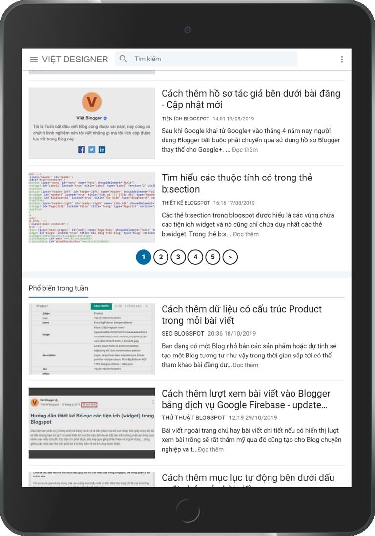 Cách thêm phân trang bằng số thứ tự vào Blogger