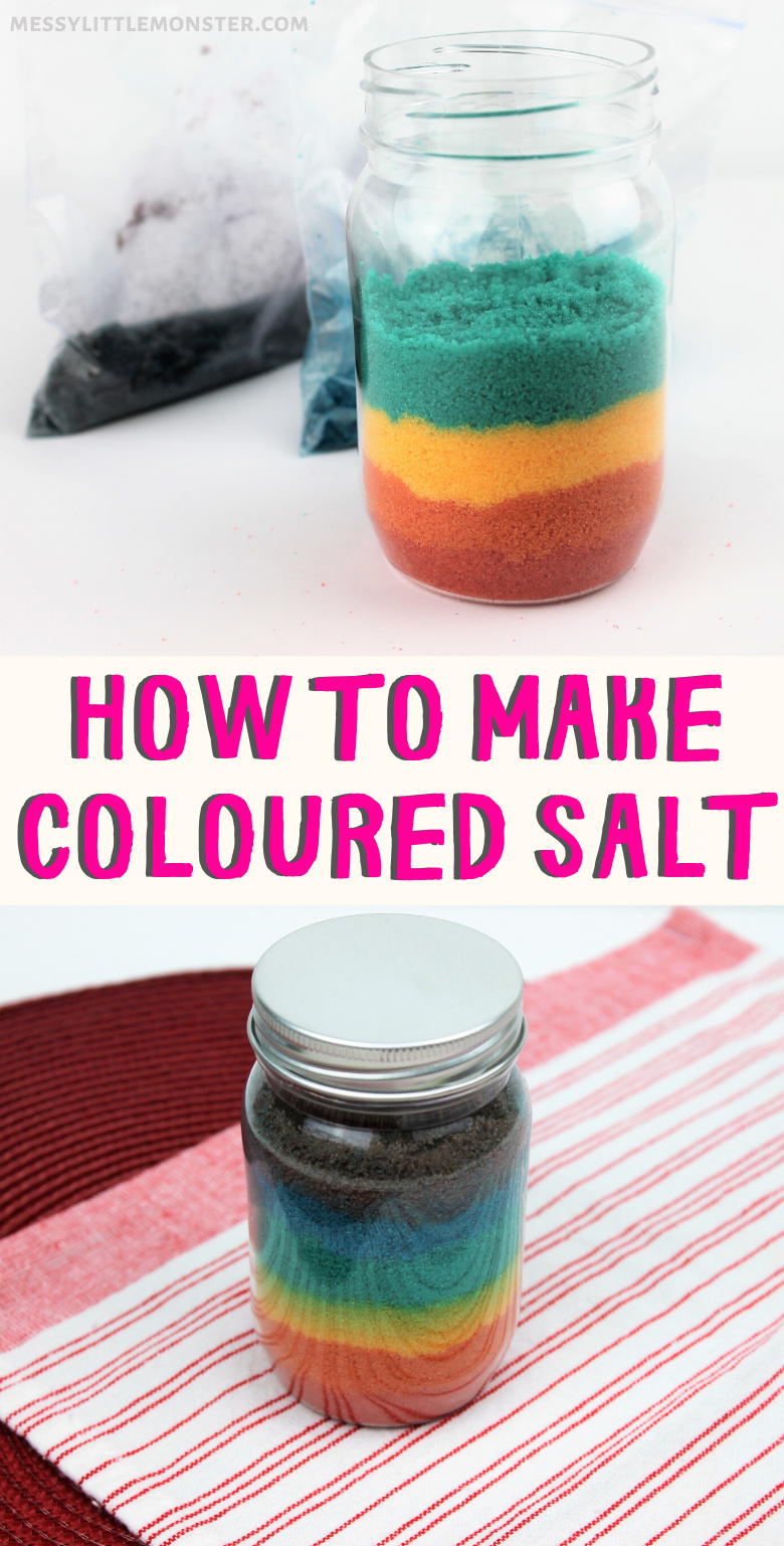 How to make rainbow coloured salt jars - the easy way!