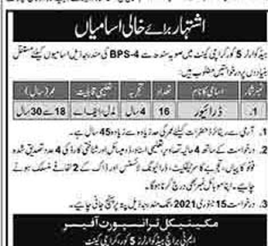 join-pak-army-headquarter-5-corps-jobs-2021
