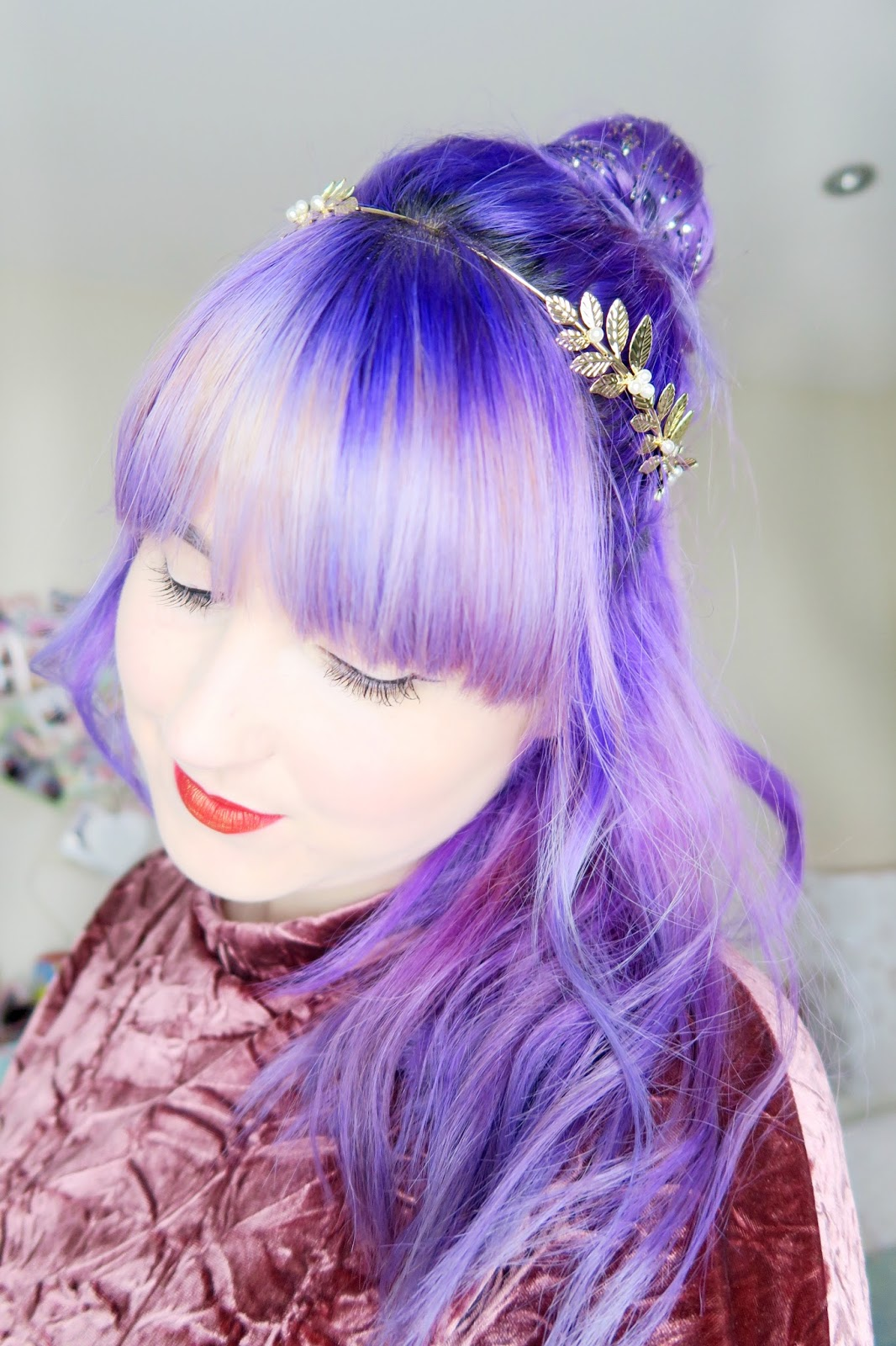 an image of a party hair do with glitter bun