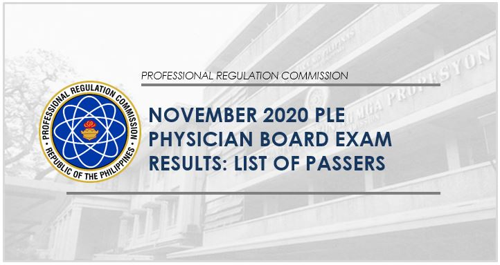 PLE RESULT: November 2020 Physician board exam list of passers