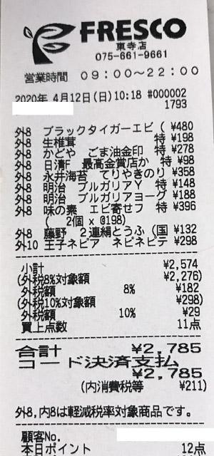 フレスコ 東寺店 2020/4/12 のレシート