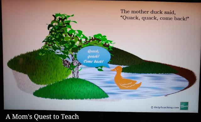 screenshot of Five Little Ducks from HelpTeaching.com