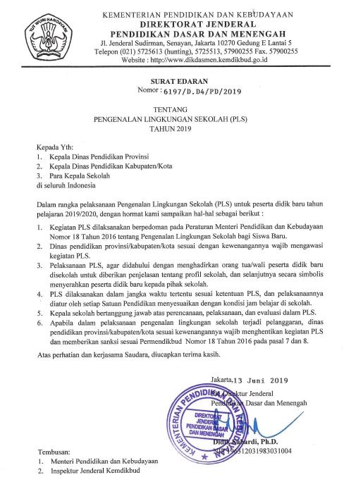 Surat Edaran Tentang MPLS (Pengenalan Sekolah) Tahun 2019