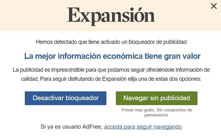Quitar Publicidad de Expansion.com con AdBlock y Fácil - Eliminar Publicidad Molesta