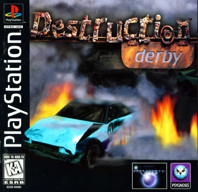 Front cover of Destruction Derby for the original Sony PlayStation console.