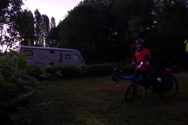De Paris à la Rochelle en vélo couché, départ du camping