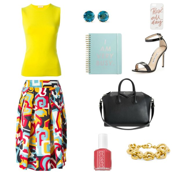Summer yellow top outfit