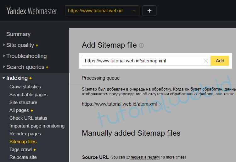 Cara Submit Sitemap ke Yandex 1 Pilih Add