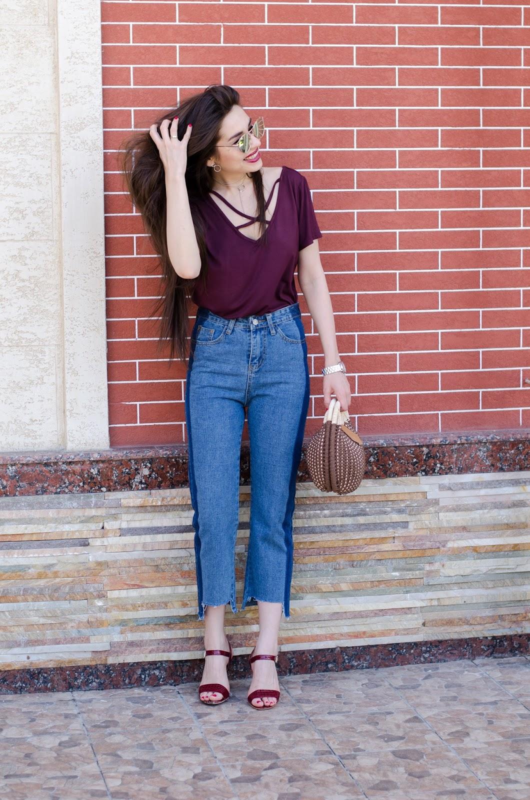 fashion blogger diyorasnotes diyora beta mom jeans bored top straw tote bag