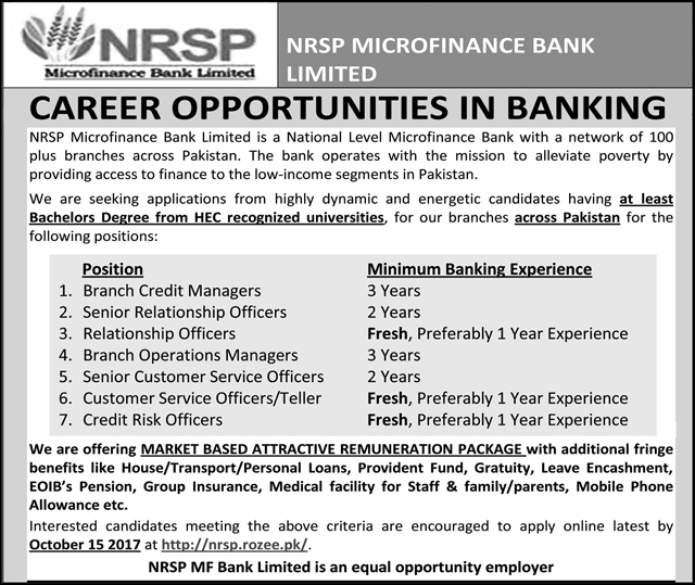 Jobs In NRSP Microfinance Bank Limited  Sep 2017