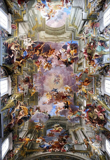 illustrative ceiling paintings by Andrea Pozzo between 1685-1697 for Florence's Church of Saint Ignazio