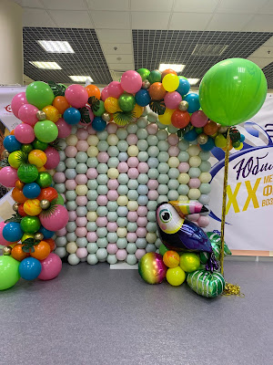 """Selling the Dream"" Tropical Balloon Wall by Sue Bowler, CBA"