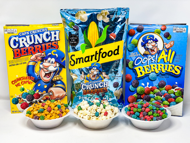 Tales Of The Flowers Smartfood Cap N Crunch S Crunch Berries Popcorn Mix Taste Test Overflowing with red, blue, green and purple pieces sweetened corn & oat cereal. crunch berries popcorn mix taste test