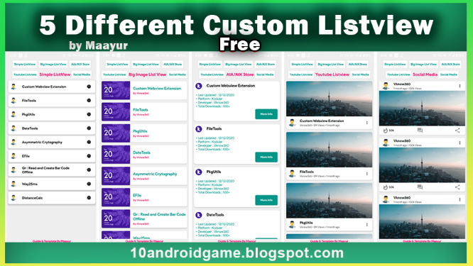 5 Different Custom Listview using Dynamic component Extension | Full Guide